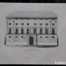 Arte: FACHADA DE LA DIPUTACION DE BARCELONA- GRABADO ORIGINAL DE 1854 - 243X155MM. Lote 85728380
