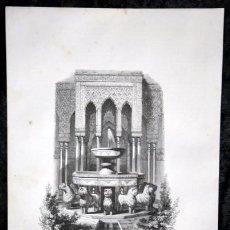 Arte: PATIO DE LOS LEONES - ALHAMBRA - GRANADA - GRABADO ORIGINAL DE 1854 - 244X155MM. Lote 85730072