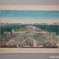 Arte: VISTA DE LAS FUENTES Y JARDINES DEL PALACIO REAL (ESPAÑA), 1765. CHEREAU. Lote 86120276