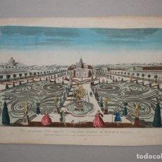 Arte: VISTA DE LOS JARDINES DE UN PALACIO BARROCO DE MADRID (ESPAÑA), 1750. Lote 86120744