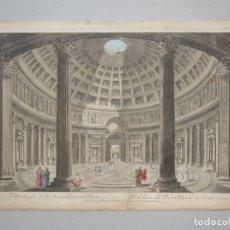Arte: VISTA DEL INTERIOR DEL PANTEÓN DE ROMA.1770. WILKINSON /BORVLES/PANINI. Lote 86169396