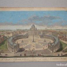 Arte: VISTA DE LA IGLESIA DE SAN PEDRO EN ROMA, 1750. WILKINSON /BORVLES. Lote 86169896
