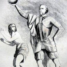 Arte: CRISTOBAL COLON - GRABADO ORIGINAL DE 1854 - 245X151MM. Lote 86288340