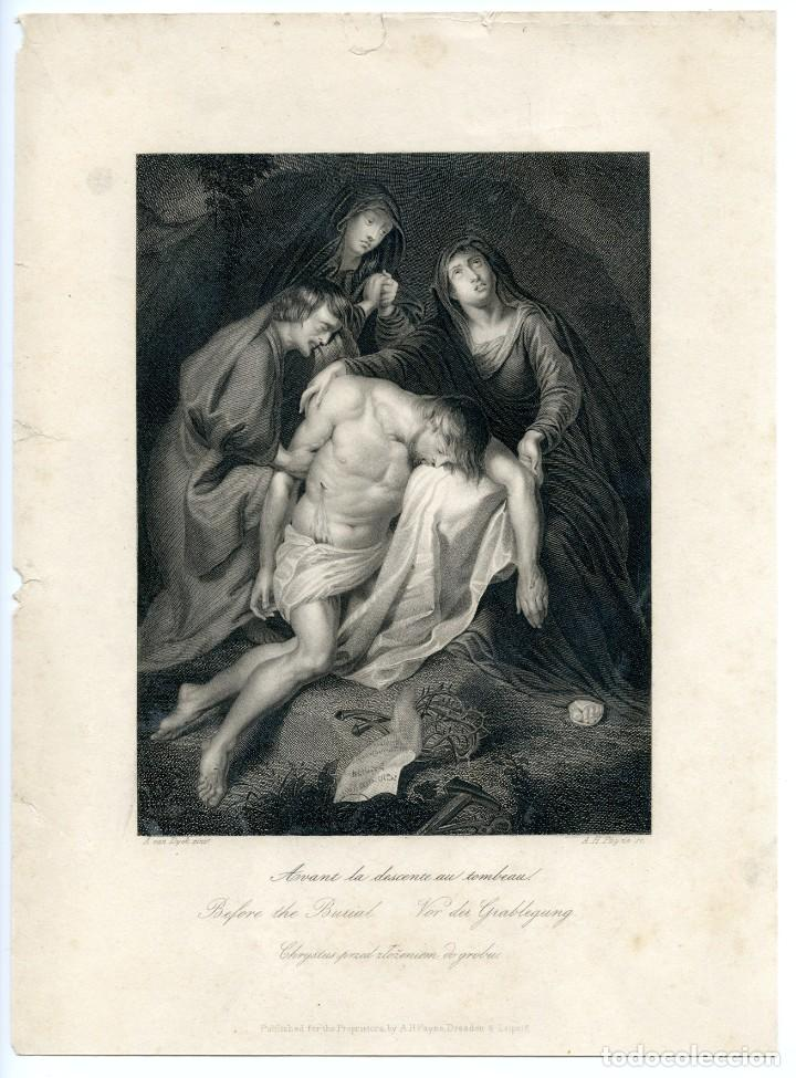 GRABADO ORIGINAL SIGLO XIX. EL DESCENDIMIENTO. (Arte - Grabados - Modernos siglo XIX)