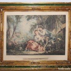 Arte: GRABADO DE JEAN DAULLÉ - LES CHARMES DU PRINTEMPS - MARCO IMPERIO DE ÉPOCA. Lote 87013732