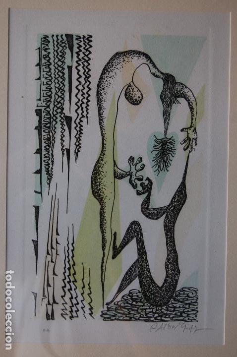 Arte: Rafael Alberti. Grabado 30x20 cm, con marco 53x43 firmado a mano. Prueba de autor - Foto 2 - 87016660