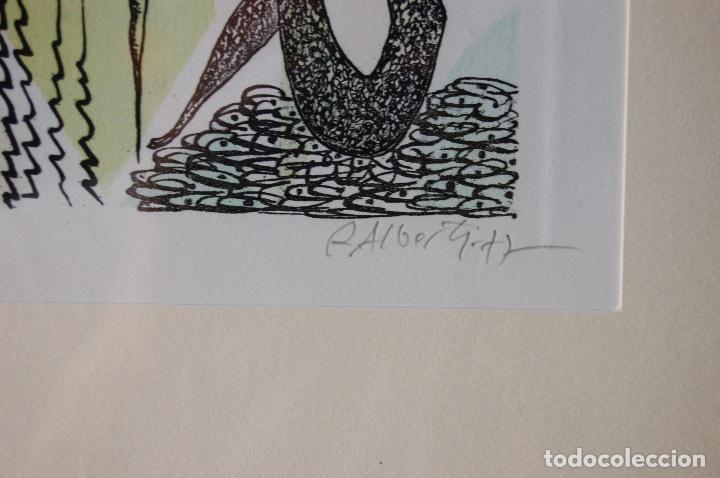Arte: Rafael Alberti. Grabado 30x20 cm, con marco 53x43 firmado a mano. Prueba de autor - Foto 3 - 87016660