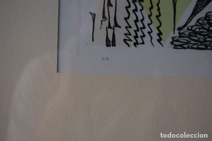 Arte: Rafael Alberti. Grabado 30x20 cm, con marco 53x43 firmado a mano. Prueba de autor - Foto 4 - 87016660