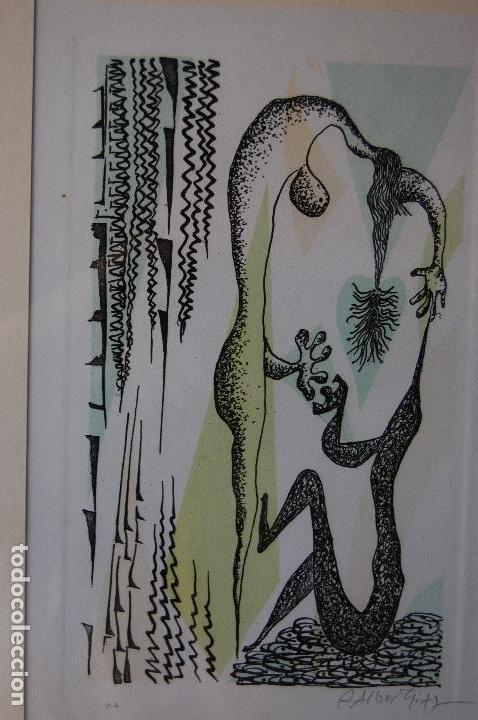 Arte: Rafael Alberti. Grabado 30x20 cm, con marco 53x43 firmado a mano. Prueba de autor - Foto 5 - 87016660