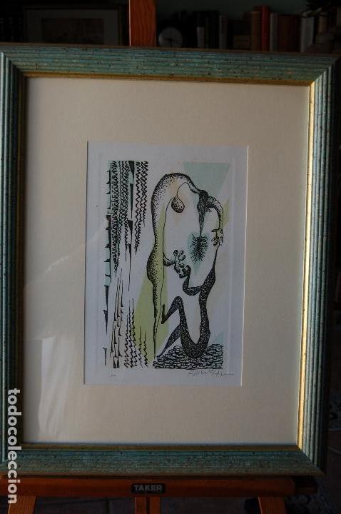 Arte: Rafael Alberti. Grabado 30x20 cm, con marco 53x43 firmado a mano. Prueba de autor - Foto 6 - 87016660