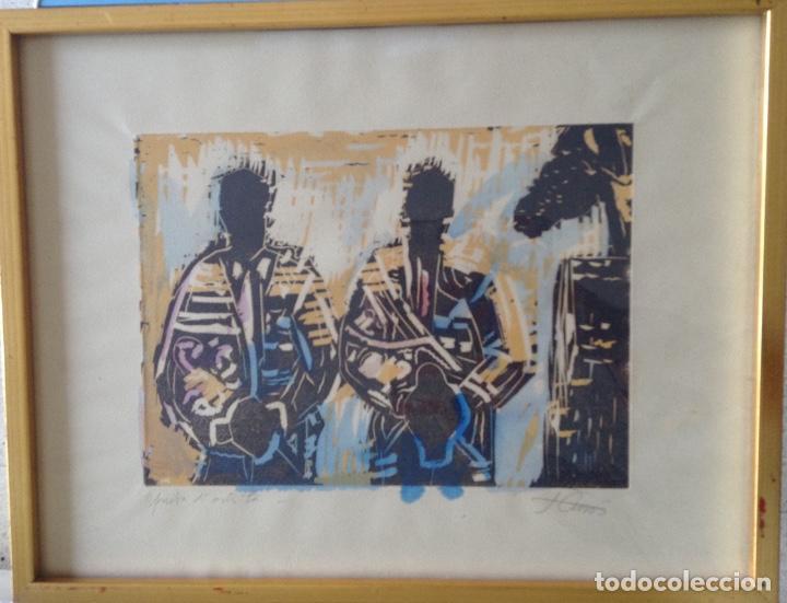 JORDI CUROS GRABADO 48.X 37 CMS COLORIDO A MANO (Arte - Grabados - Contemporáneos siglo XX)