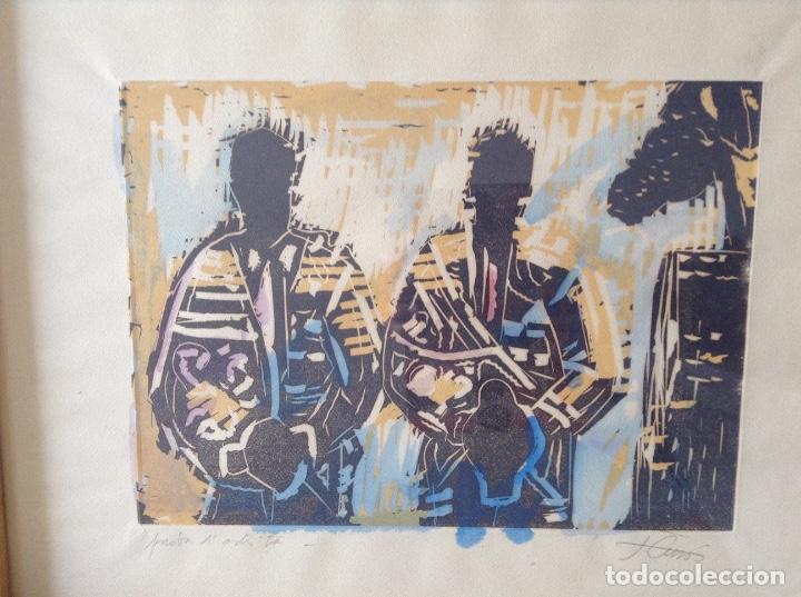 Arte: JORDI CUROS GRABADO 48.x 37 cms COLORIDO A MANO - Foto 3 - 87076432