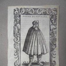 Arte: XILOGRAFÍA DE MUJER DE GRANADA (ESPAÑA), 1590. VECELLIO. Lote 87189428