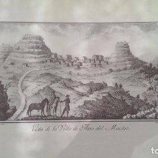 Arte: PRECIOSO GRABADO CAVANILLES AÑOS 1795-1797L VISTA DE LA VILLA DE ARES DEL MAESTRE. Lote 245576450