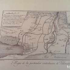 Arte: PRECIOSO GRABADO CAVANILLES AÑOS 1795-1797 MAPA DE LA CONTRIBUCION DE VALENCIA Y ALBUFERA. Lote 254530785