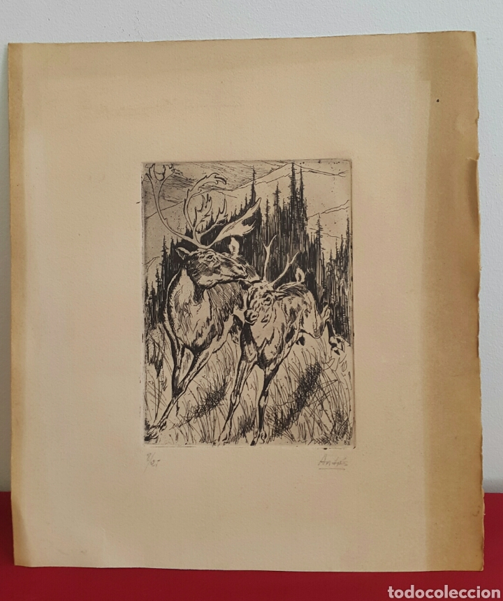 ANTIGUO GRABADO FIRMADO Y NUMERADO (Arte - Grabados - Contemporáneos siglo XX)