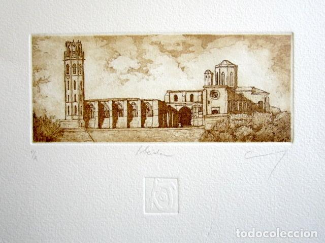 ANTIGUO GRABADO DE LÉRIDA - LLEIDA. FIRMADO Y NUMERADO. 27 X 24 CM. (Arte - Grabados - Contemporáneos siglo XX)