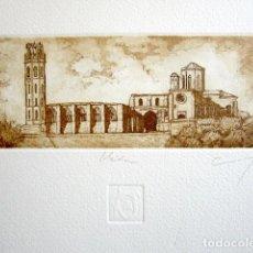 Arte: ANTIGUO GRABADO DE LÉRIDA - LLEIDA. FIRMADO Y NUMERADO. 27 X 24 CM.. Lote 87494860