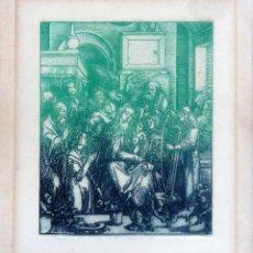 Arte: GALICIA.LUGO.GRABADO CASTRO GIL(15,5X12,5CM.) SOBRE PAPEL (21X18,5) DE LA SERIE 'HOMENAJE A DURERO'. Lote 87496544