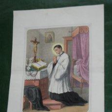 Arte: GRABADO SAN LUIS GONZAGA - SIGLO XIX - COLOREADO, IMPRESOR L.TURGIS, PARIS. Lote 87501100