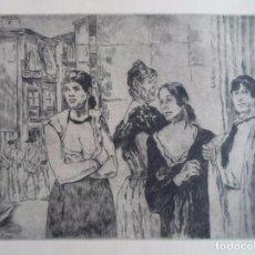 Arte: JOSÉ GUTIÉRREZ SOLANA (1886-1945) MUJERES DE LA VIDA AGUAFUERTE 1963 DE 23X29 PAPEL 50X65 FIRMAPLANC. Lote 88821460