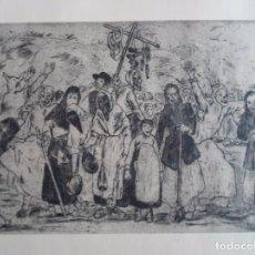 Arte: JOSÉ GUTIÉRREZ SOLANA (1886-1945) ENTIERRO DE LA SARDINA AGUAFUERTE 1963 DE 24X34 PAPEL 50X65. Lote 88821532