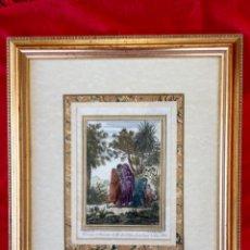 Arte: GRABADO FRANCES SXVIII COLOREAD COCHIN HIJO INV . LITOGRAFO F. AVELINE HABITANTES ISLA DE SAN JUAN. Lote 89039612