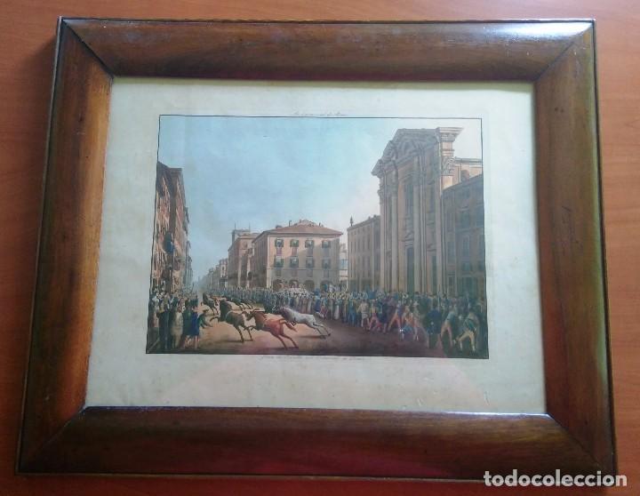 AGUAFUERTE COLOREADO A MANO - CA 1800 - CON MARCO DE EPOCA - LE CARNAVAL DE ROMA - CORSA DE CAVALLI (Arte - Grabados - Antiguos hasta el siglo XVIII)