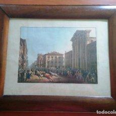 Arte: AGUAFUERTE COLOREADO A MANO - CA 1800 - CON MARCO DE EPOCA - LE CARNAVAL DE ROMA - CORSA DE CAVALLI. Lote 89312100