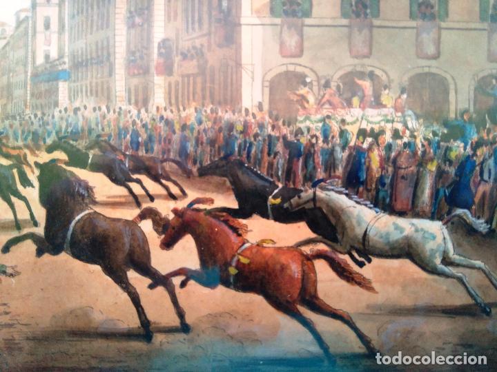 Arte: AGUAFUERTE COLOREADO A MANO - Ca 1800 - CON MARCO DE EPOCA - LE CARNAVAL DE ROMA - CORSA DE CAVALLI - Foto 3 - 89312100
