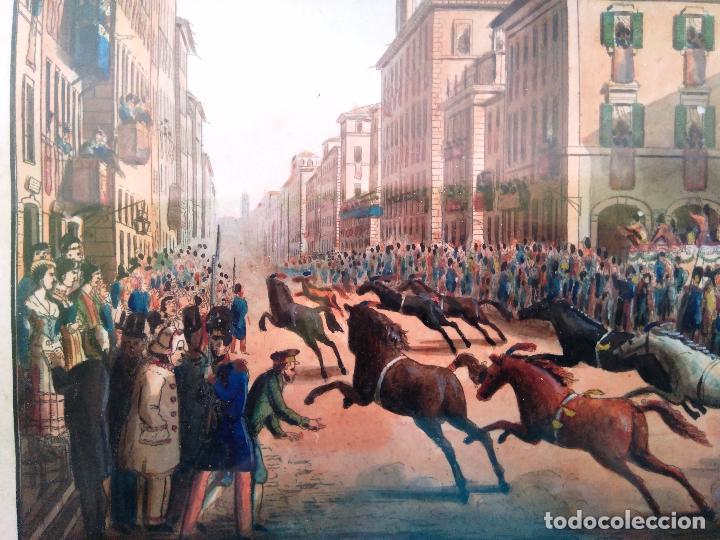 Arte: AGUAFUERTE COLOREADO A MANO - Ca 1800 - CON MARCO DE EPOCA - LE CARNAVAL DE ROMA - CORSA DE CAVALLI - Foto 4 - 89312100