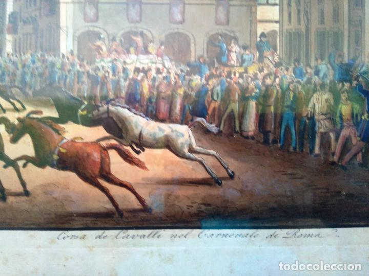 Arte: AGUAFUERTE COLOREADO A MANO - Ca 1800 - CON MARCO DE EPOCA - LE CARNAVAL DE ROMA - CORSA DE CAVALLI - Foto 5 - 89312100