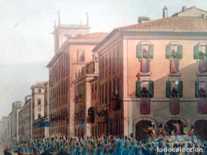 Arte: AGUAFUERTE COLOREADO A MANO - Ca 1800 - CON MARCO DE EPOCA - LE CARNAVAL DE ROMA - CORSA DE CAVALLI - Foto 7 - 89312100