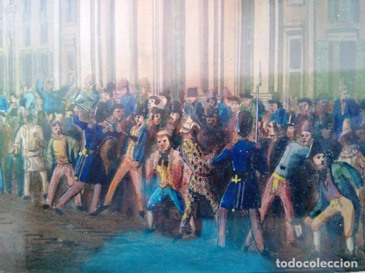 Arte: AGUAFUERTE COLOREADO A MANO - Ca 1800 - CON MARCO DE EPOCA - LE CARNAVAL DE ROMA - CORSA DE CAVALLI - Foto 8 - 89312100