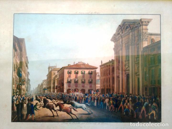 Arte: AGUAFUERTE COLOREADO A MANO - Ca 1800 - CON MARCO DE EPOCA - LE CARNAVAL DE ROMA - CORSA DE CAVALLI - Foto 9 - 89312100