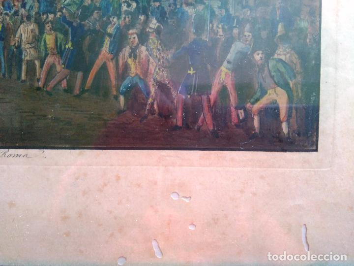 Arte: AGUAFUERTE COLOREADO A MANO - Ca 1800 - CON MARCO DE EPOCA - LE CARNAVAL DE ROMA - CORSA DE CAVALLI - Foto 12 - 89312100