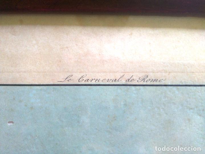 Arte: AGUAFUERTE COLOREADO A MANO - Ca 1800 - CON MARCO DE EPOCA - LE CARNAVAL DE ROMA - CORSA DE CAVALLI - Foto 13 - 89312100