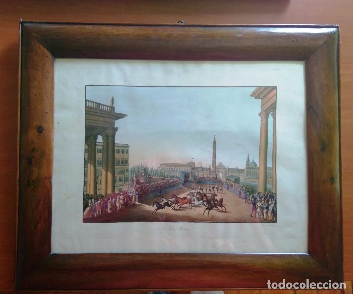 AGUAFUERTE COLOREADO A MANO - CA 1800 - CON MARCO DE EPOCA - LA MOSSA - PRESSO D. MUCCI (Arte - Grabados - Antiguos hasta el siglo XVIII)