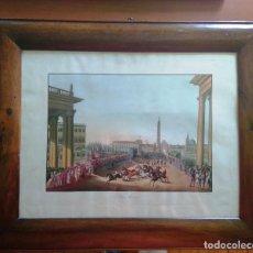 Arte: AGUAFUERTE COLOREADO A MANO - CA 1800 - CON MARCO DE EPOCA - LA MOSSA - PRESSO D. MUCCI. Lote 89312516