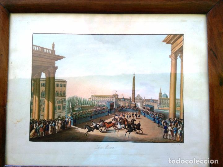 Arte: AGUAFUERTE COLOREADO A MANO - Ca 1800 - CON MARCO DE EPOCA - LA MOSSA - PRESSO D. MUCCI - Foto 2 - 89312516