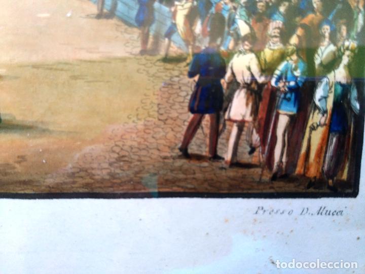 Arte: AGUAFUERTE COLOREADO A MANO - Ca 1800 - CON MARCO DE EPOCA - LA MOSSA - PRESSO D. MUCCI - Foto 7 - 89312516