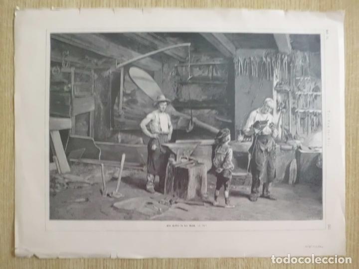 NIÑO LLEVANDO UN JUGUETE A REPARAR AL HERRERO, 1890 (Arte - Grabados - Modernos siglo XIX)