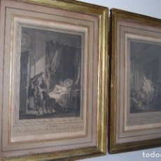 Arte: PAREJA DE GRABADOS - GOUACHES ORIGINALES DE P. A. BAUDOUIN GRABADOS POR E. DE GHENDT -FINALES XVIII. Lote 90624970