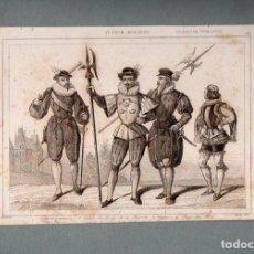Arte: FRANCIA - MOSQUETERO Y TRAJES MILITARES S. XVI - GRABADO VERNIER LEMAITRE. Lote 90826770
