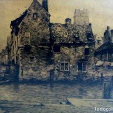 Arte: CASA TRADICIONAL DE PAISES BAJOS. V. OLIVIER GILSOUL. GRABADO. 18/25. BELGICA CIRCA 1840. Lote 91117425