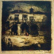 Arte: CASA. AGUAFUERTE. SOBRE PAPEL. FIRMADO LUIS DE ORTIGAO BURNAY. PORTUGAL. 1932. Lote 91453915