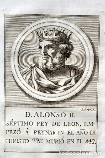 1788 GRABADO - ALONSO II - REY DE LEON - 200X135MM (Arte - Grabados - Antiguos hasta el siglo XVIII)