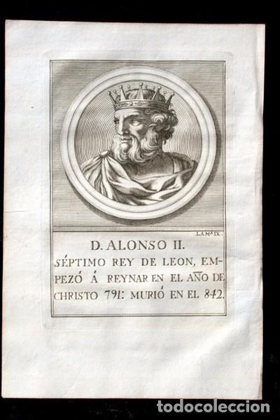 Arte: 1788 GRABADO - ALONSO II - REY DE LEON - 200x135mm - Foto 2 - 91790895