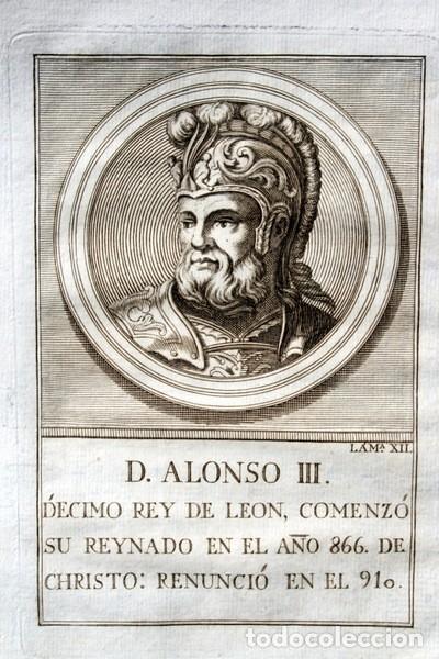 1788 GRABADO - ALONSO III - REY DE LEON - 200X135MM (Arte - Grabados - Antiguos hasta el siglo XVIII)