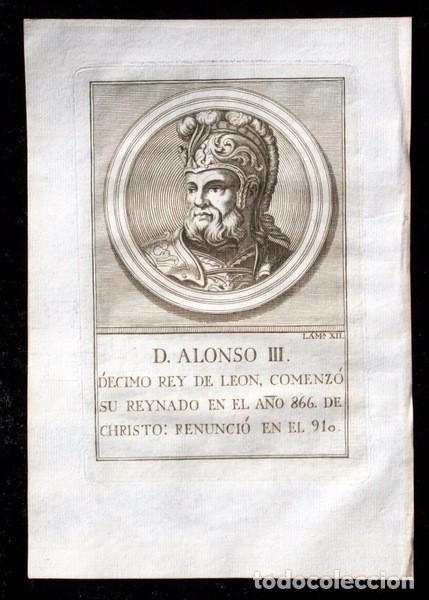 Arte: 1788 GRABADO - ALONSO III - REY DE LEON - 200x135mm - Foto 3 - 91792770